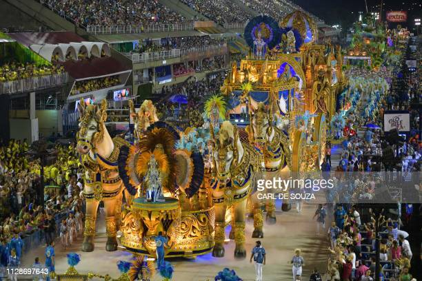 Members of the Vila Isabel samba school perform during the second night of Rio's Carnival parade at the Sambadrome in Rio de Janeiro Brazil on March...