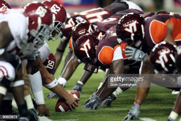 Members of the Virginia Tech Hokies line up during the ChickfilA Kickoff Game against the Alabama Crimson Tide at the Georgia Dome on September 5...