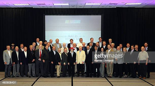 Members of the voting panel pose before the NASCAR Hall of Fame Class of 2015 voting at Charlotte Convention Center on May 21 2014 in Charlotte North...