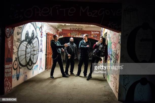 Members of the Vox Populi group before the international tour the BIGZ building Belgrade Serbia on December 13 2017 Vox Populi is a Belgrade punk...