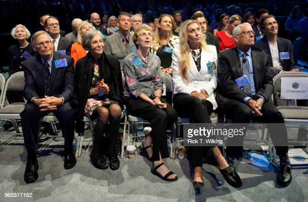 Members of the Walton family are introduced to the audience during the annual shareholders meeting event on June 1 2018 in Fayetteville Arkansas Jim...