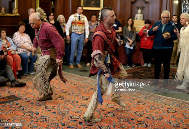 Members of the Wampanoag Nation Singers and Dancers perform at the New England Historic Genealogical Society in Boston on April 17 2019 Festivities...