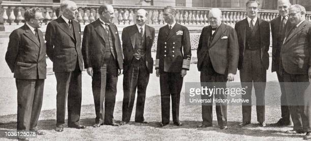 Members of the War Cabinet of the All Party Government during WWII, from left to right, Mr. Morrison , Lord Woolton , Sir John Anderson , Mr. Attlee...