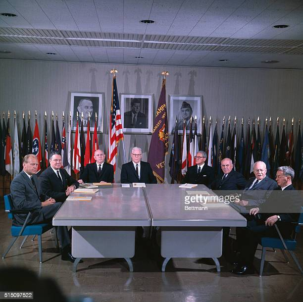 Members of the Warren Commission which was put together to investigate the assassination of President John F Kennedy The members are Rep Gerald R...
