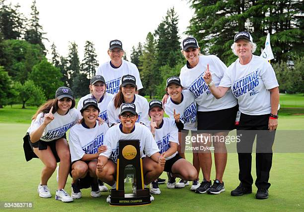 Members of the Washington Huskies golf team pose with the trophy after winning the 2016 NCAA Division I Women's Golf Championship against Stanford at...