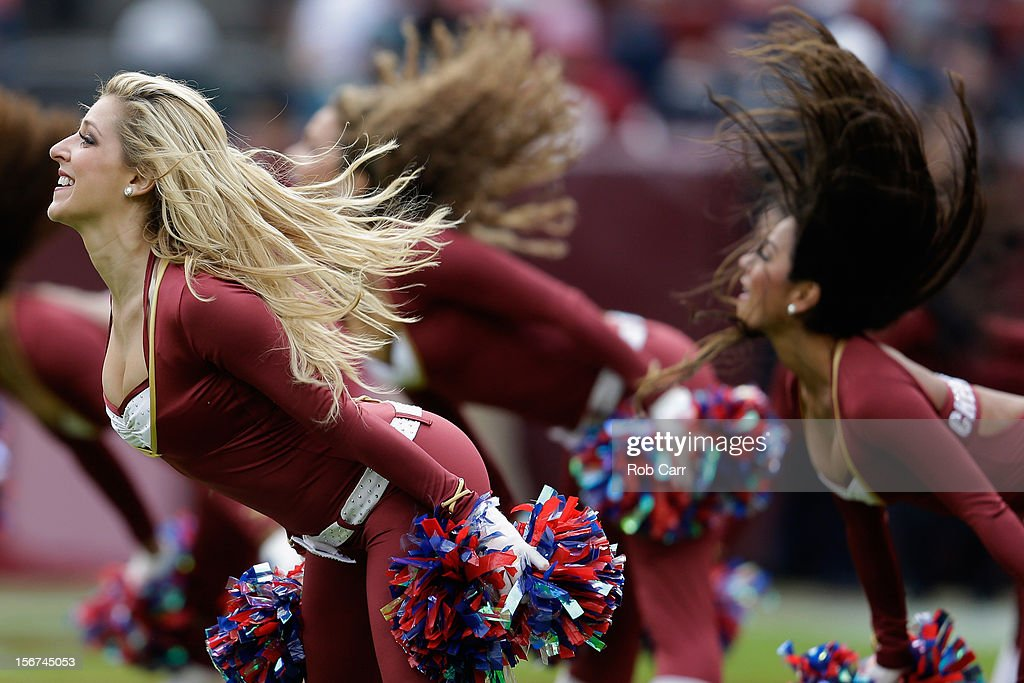 Members of the Washington Redskins cheerleaders perform during the Redskins and Philadelphia Eagles game at FedEx Field on November 18, 2012 in Washington, DC.