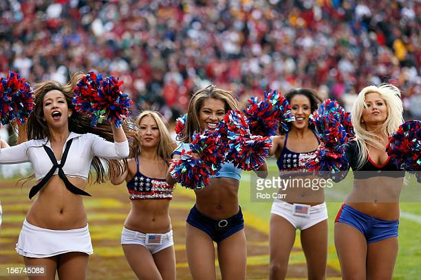 Members of the Washington Redskins cheerleaders perform during the Redskins and Philadelphia Eagles game at FedEx Field on November 18 2012 in...