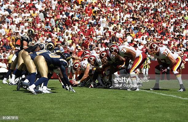 Members of the Washington Redskins line up to kick at the line of scrimmage against the St Louis Rams at FedEx Field on September 20 2009 in Landover...
