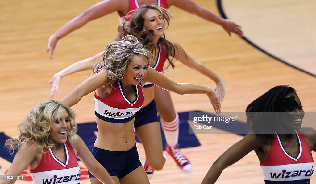 Members of the Washington Wizards Girls perform during the first half of the Wizards and Oklahoma City Thunder game at Verizon Center on January 7, 2013 in Washington, DC.