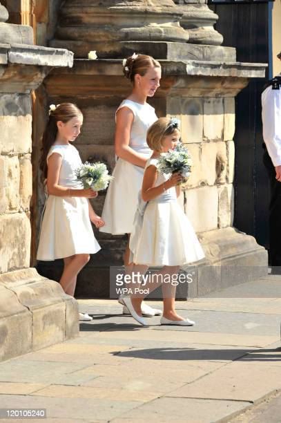 Members of the wedding party leave Holyrood Palace to go to the Royal wedding of Zara Phillips and Mike Tindall at Canongate Kirk on July 30, 2011 in...