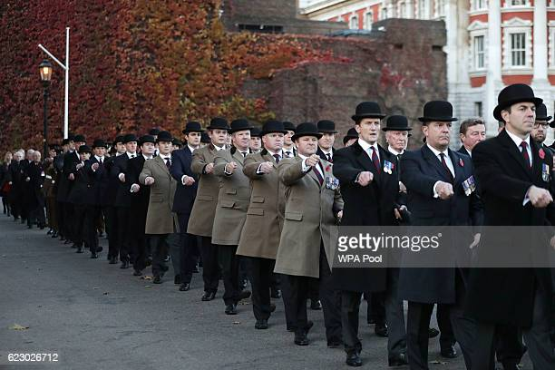 Members of the Welsh Guard parading past the Guard's Memorial for the Welsh Guards' Regimental Remembrance Sunday on November 13 2016 in London...