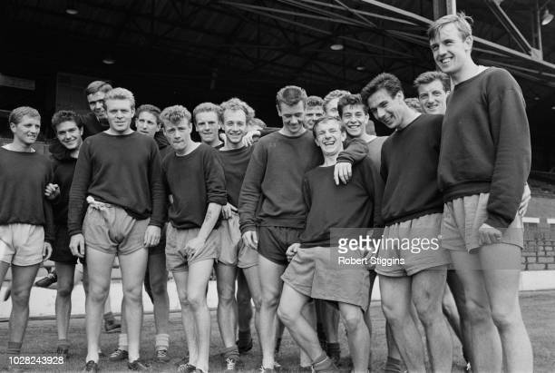 Members of the West Bromwich Albion Football Club team squad pictured together during a training session at the club's The Hawthorns stadium prior to...