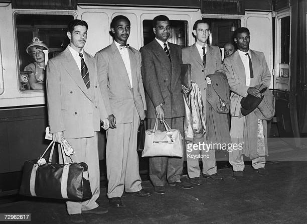 Members of the West Indian cricket team at St Pancras station on their way to Australia 13th September 1951 Left to right Kenneth Rickards Sir Frank...