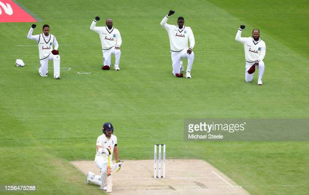 Members of the West Indies team take a knee in support of the Black Lives Matter movement during Day One in the 2nd Test Match of the #RaiseTheBat...