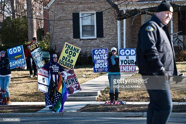 Members of the Westboro Baptist Church a Kansas church known for its vehement antigay positions and for protesting at US soldiers' funeral stage a...