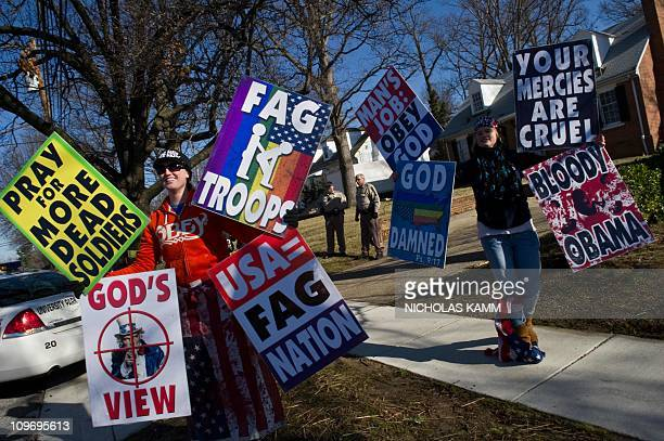 Members of the Westboro Baptist Church a Kansas known for its vehement antigay positions and for protesting at US soldiers' funeral stage a protest...