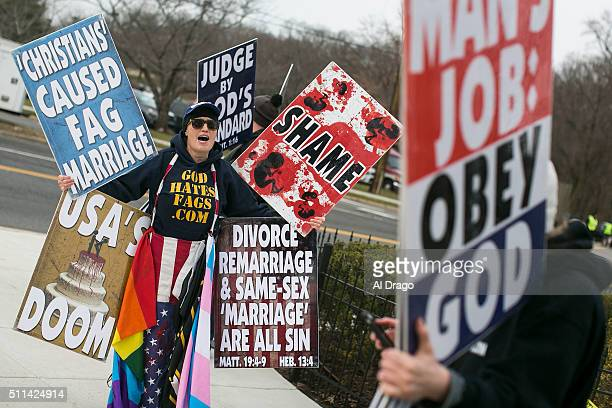 STATES FEB 20 Members of the Westboro Baptist Church based out of Topeka Kansas picket before the casket containing the body of the late Supreme...