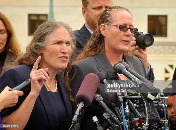 Members of the Westboro Baptist Church group, Shirley Phelps, left, and her sister, Margie Phelps, right, speak to the media after opening arguments...