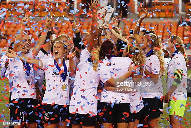 Members of the Western New York Flash celebrate after defeating the Washington Spirit in a shootout during the 2016 NWSL Championship at BBVA Compass...
