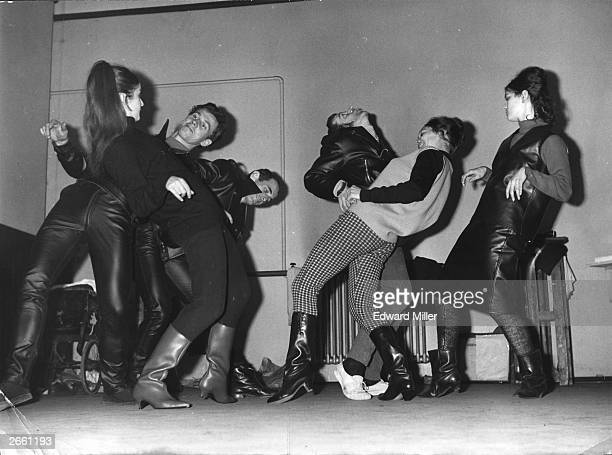 Members of the Western Theatre Ballet rehearsing for the modern ballet entitled 'Mods and Rockers'