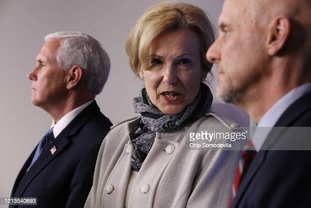 Members of the White House Coronavirus Task Force including Vice President Mike Pence Task Force Coordinator Deborah Birx and FDA Commissioner...