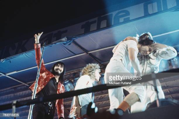 Members of The Who leave the stage after their performance set during Rock At The Oval concert at The Oval cricket ground in London on 18th September...