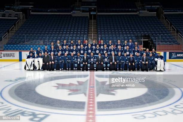 Members of the Winnipeg Jets pose for the official 20172018 team photograph on February 27 2018 at the Bell MTS Place in Winnipeg Manitoba Canada
