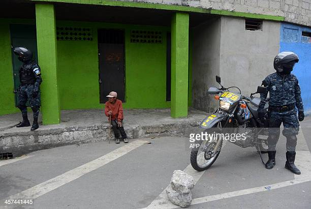 Members of the 'Wolves' an elite group of the National Civil patrol the streets during security operations within the Christmas season in Guatemala...