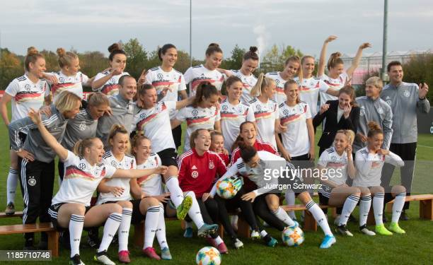 Members of the women's national team of Germany joke when they pose on November 05 2019 in Tegelen Netherlands Picture shows LtoR first row Pauline...