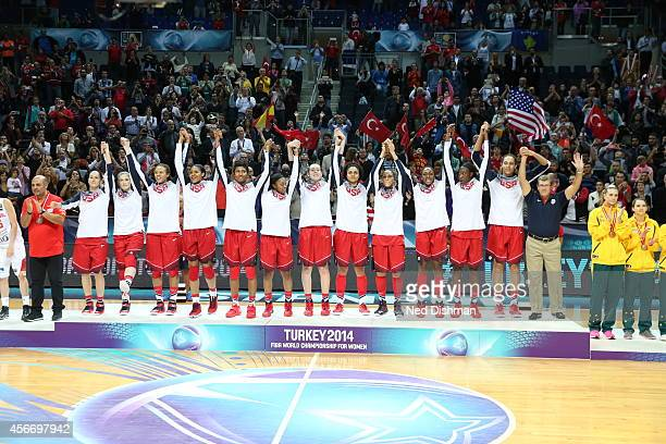 Members of the Women's Senior US National Team receive their medal after defeating Spain during the finals of the 2014 FIBA World Championships on...