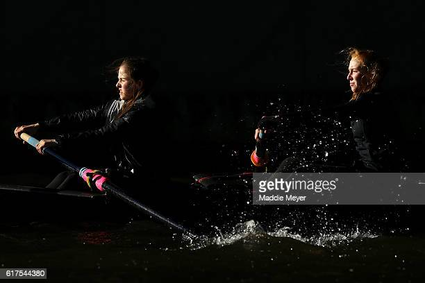 Members of the Women's Youth Fours team from Port Rowing compete during Day 2 of The 52nd Head of the Charles Regatta on October 23 2016 in Cambridge...