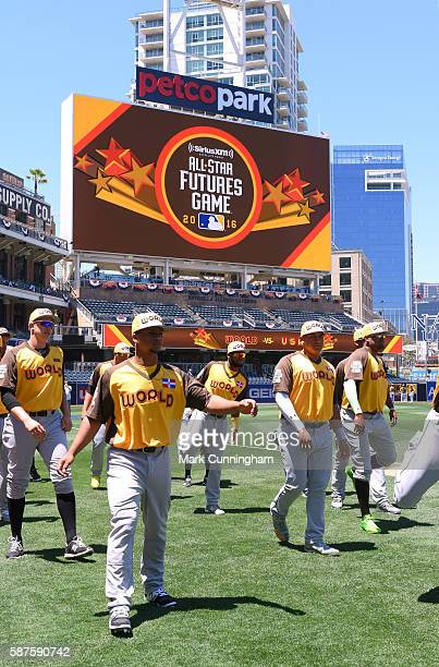 Members of the World Team stand together on the field prior to the SiriusXM AllStar Futures Game at PETCO Park on July 10 2016 in San Diego...