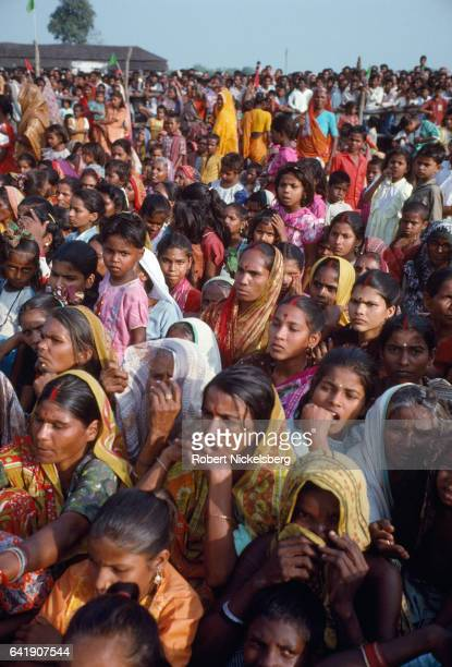 Members of the Yadav caste hold a campaign rally for Laloo Prasad Yadav November 1, 1991 in Patna, India. Yadav was victorious in the election...