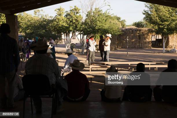 Members of the Yaqui tribe attend a community meeting in the village of Loma de Bacum Sonora state Mexico on Tuesday Dec 5 2017 Sempra Energy's...