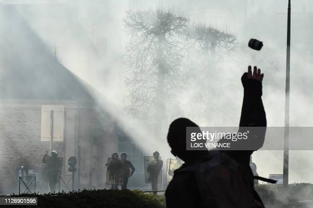 TOPSHOT Members of the yellow vest takes part in the 15th consecutive Saturday of demonstrations in Rennes western France on February 23 2019...