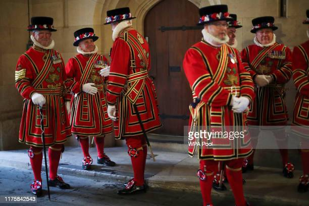 Members of the Yeoman Guard line up ahead of the State Opening of Parliament at the Palace of Westminster on October 14 2019 in London England