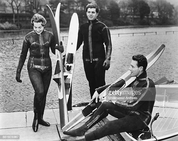 Members of the Yorkshire Water Ski Club wearing their winter ski uniforms of ultra microcellular 3/16 inch Neoprene with rust proof nonjamming...