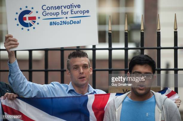Members of the Young Conservatives protest outside Conservative Campaign HQ against a No Deal Brexit and in solidarity with the 21 Conservative MPs...
