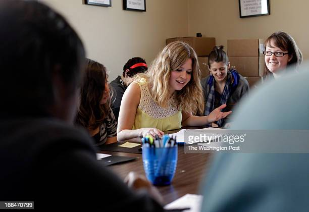Members of the Young Playwrights Theatre rehearsing different plays written by DC area youngster Actriz Maggie Erwin reads Ben Perez play called A...