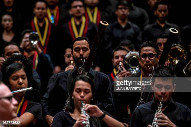 Members of the Youth Orchestra perform during the wake of the founder of the National System of Children and Youth Orchestras Jose Antonio Abreu in...