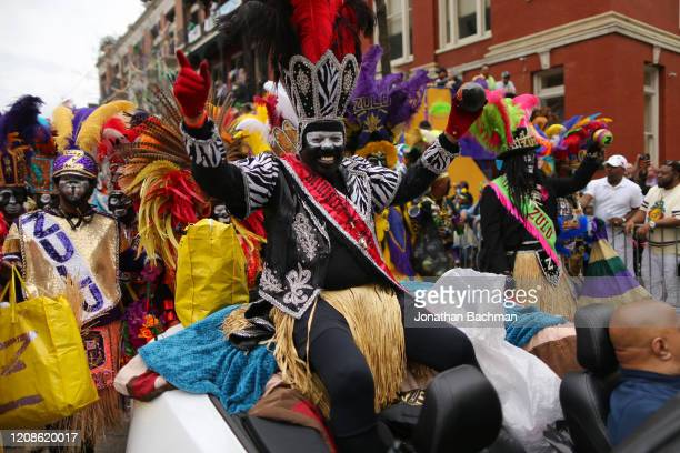 Members of the Zulu Social Aid and Pleasure Club parade down St Charles Avenue during Fat Tuesday celebrations on February 25 2020 in New Orleans...