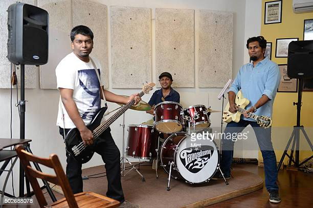 Members of 'Thermal And A Quarter' a rock band Leslie Charles Rajeev Rajagopal and Bruce Lee Mani pose for a profile shoot on March 16 2015 in...