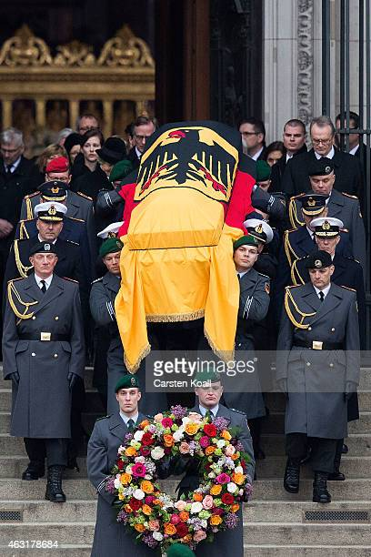 Members of three different branches of the Guard Battalion carry the coffin at the state memorial service for former German President Richard von...