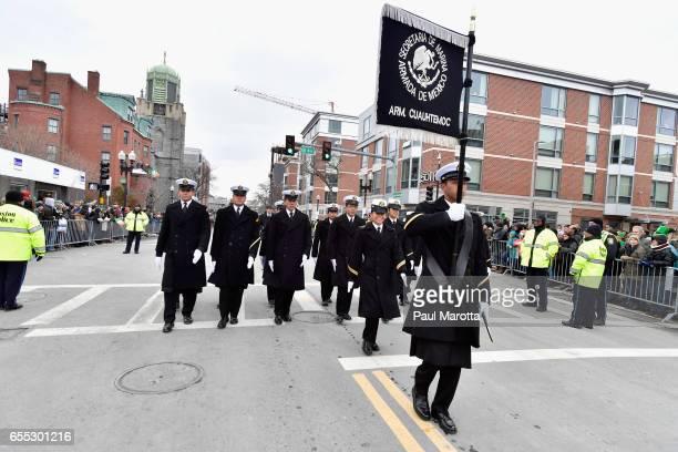 Members of thte Secretaria de Marina Armada de Mexico Arm Cuauhtemoc from Mexico participate in the St Patrick's Day Parade on March 19 2017 in...