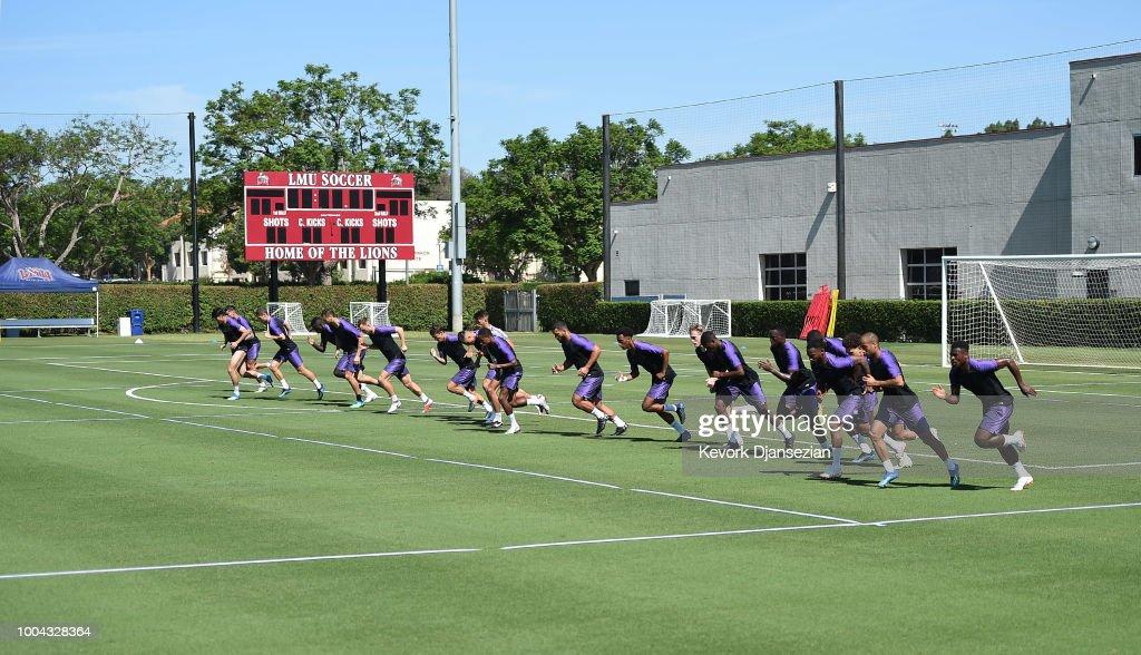 Members of Tottenham Hotspur during a pre season training session at Loyola Marymount University on July 23, 2018 in Playa del Rey, California.
