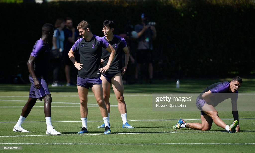 Members of Tottenham Hotspur, from left to right, Davinson Sanchez, Ben Davies, Son Heung-min and Erik Lamela during a pre season training session at Loyola Marymount University on July 23, 2018 in Playa del Rey, California.
