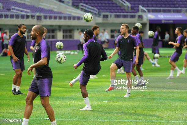 Members of Tottenham Hotspur take practice on the pitch at US Bank Stadium on July 30 2018 in Minneapolis Minnesota