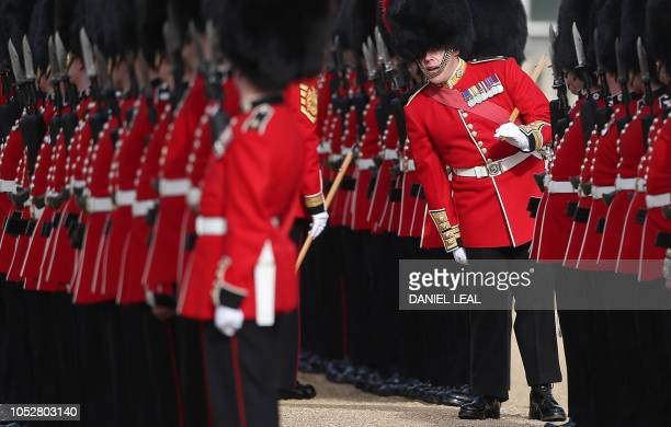 Members of trhe Coldstream Guards prepare ahead of a Ceremonial Welcome for King Willem-Alexander and Queen Maxima of the Netherlands, on Horse...