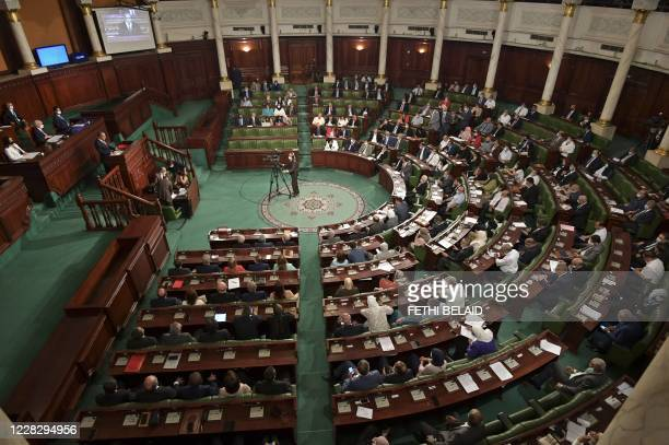 Members of Tunisia's parliament attend a confidence session in the capital Tunis on September 1, 2020.