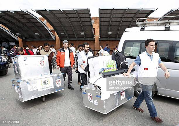 Members of Turkish healthcare and aid organizations arrives at Nepal after a powerful earthquake in Katmandu Nepal on April 26 2015 The death toll in...
